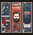 barbershop chair razors poles and man with beard vector image vector image