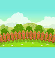 beautiful countryside landscape with wooden fence vector image vector image
