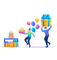 birthday party with friends flat 2d characters vector image vector image