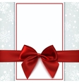 Blank greeting card with red bow and snow vector image