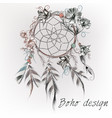 boho design with dreamcatcher feathers and flowers vector image vector image