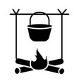 bonfire travel camping icon vector image vector image