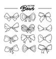 bows hand drawn contour set vector image vector image