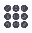 Broken foot lungs and syringe icons vector image vector image
