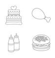 cake ham sauce burger fast foodset set vector image vector image