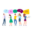 cartoon color characters people and talk bubble vector image vector image