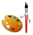 Cartoon paintbrush character with art palette vector image