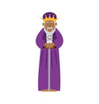 cartoon wise king manger christianity image vector image vector image