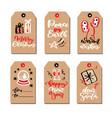 christmas modern gift tags set with hand drawn vector image
