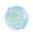 circle blue watercolor brush and flower design vector image