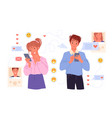 couple people dating online chatting in messenger vector image