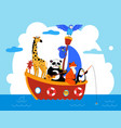 cute animals in boat in sea waters flat vector image