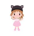 cute little baby girl in dress hat vector image