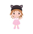 cute little bagirl in dress hat vector image