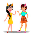 cute teen girls with cat ears on head vector image