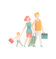family travelling father mother and son walking vector image vector image