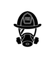 firefighter wearing protective gas mask vector image vector image