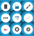 flat icon workshop set of tire coupler lifting vector image vector image