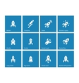 Flat rocket icons on blue background vector image