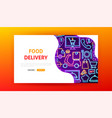 food delivery neon landing page vector image vector image