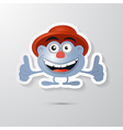 Funny Blue Man with Hat Made from Paper Icon vector image