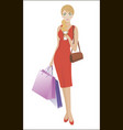 girl with two bags and a drink while shopping vector image vector image