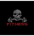 grunge skull holding a barbell in teeth vector image vector image