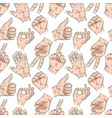 hands on white seamless pattern vector image vector image