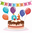 happy birthday cake celebration card vector image vector image