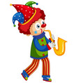 happy clown playing saxophone on white background vector image
