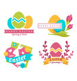 happy easter isolated icons color eggs and bunny vector image