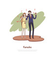 happy man and woman holding microphones vector image vector image