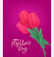 happy mothers day banner with tulips vector image