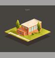 isometric school gym building vector image vector image