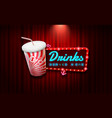 light sign beverage on curtain with spotlight vector image vector image