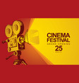 movie festival poster with old movie camera vector image vector image
