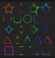 neon light glowing colorful objects collection vector image