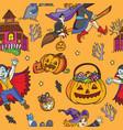 orange seamless pattern with cartoon halloween vector image vector image
