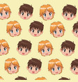 pattern face cute anime tennagers facial vector image vector image
