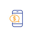 pay by phone line icon mobile payment sign vector image