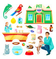 Pet shop with animals and products