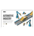 robots hands assemble car on conveyor belt process vector image vector image