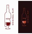 rum bottle banner glass rum on white and black vector image vector image