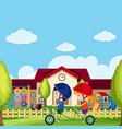 scene with boy and girl riding bike in park vector image vector image