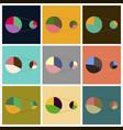 set of flat icons on stylish background pie chart vector image vector image