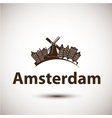 silhouette of Amsterdam City skyline vector image
