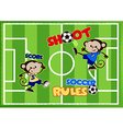 Soccer monkeys playing on a green sports field vector image vector image