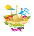 songkran festival thailand water fighter sunny day vector image vector image