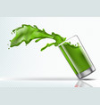 splash of kiwi juice from falling glass vector image vector image