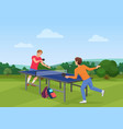table tennis pingpong match on the nature vector image